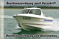 2x Bootskennzeichen Bootsbeschriftung Boot Kennzeichen Vorschrift mit 10 cm Höhe