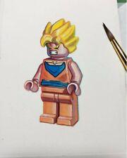 Lego Goku Dragon Ball Z Minifigure Painting hand made artwork