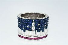 $40,000 9.80CT NATURAL SAPPHIRE, RUBY & DIAMOND CITY SKYLINE ETERNITY BAND 18K