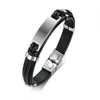 "8.46"" Black Genuine Leather Bracelet for Men Silver Matte Bangle Stainless Steel"