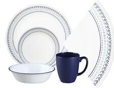 Corelle 16pc FOLK STITCH Dinnerware Set *Aqua & Indigo BLUE Bohemian Nouveau NEW