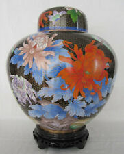 "12"" Beijing Cloisonne Cremation Urn China Style Spring Bouquet Black - New"