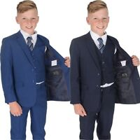 5 Piece Navy Blue Checked Suit Wedding Suit Prom Page Boy Suit Formal  2-12 Year