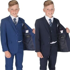 5 Piece Navy Blue Checked Suit Wedding Suit Prom Page Boy Suit Formal 2-15 Year