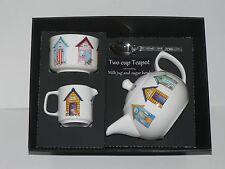 Beach hut 2 cup teapot,Milk & Sugar gift boxed. Teapot, matching milk and sugar