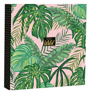 "Stay Wild Jungle Design Photo Album Holds 200 Photos Easy Slip In 4x6"" & Memos"