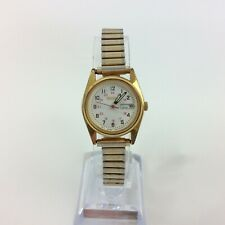 Vintage Seiko Watch Women Gold Tone Day Date White Face 7N83-0011 New Battery