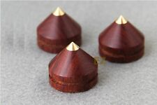 8x Rosewood Wooden Copper Tip Spike Speaker Isolation Cone Low Med Sound Effect