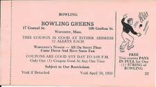 Worcester, MA ; candlepin bowling coupon, Central Lanes; dated 1950