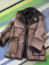 vtg COOPER Sheepskin SHEARLING Fur Coat 42 MEDIUM Brown Rancher MARLBORO MAN