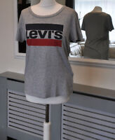 LEVI'S Ladies Top Blouse Tee Shirt Crew Neck Grey Cotton S / Small