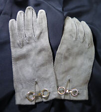 Gorgeous Hand Stitched Vintage Suede Gloves from France 1960's