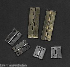 6 alte mini Scharniere für Puppenstube, Kaufladen, alte Schachteln etc.