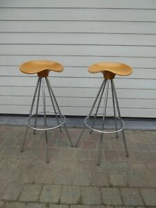early rare beech jamaica bar stools Pepe Cortes Spain for Amat mid century Knoll