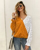 Top T-Shirt Blouse Long Sleeve Ladies V Neck Casual Loose Pullover Womens