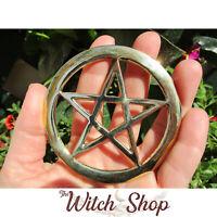"""3"""" Golden Brass Pentagram Openwork Altar Tile Wiccan Pagan Witchcraft Supplies"""