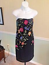 Adrianna Papell Black W/Floral Embellishment Strapless Silk Dress - 8Petite