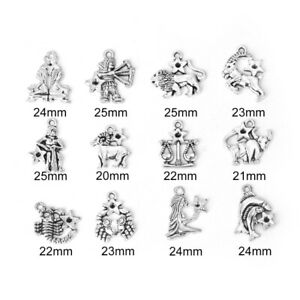 Antique Silver Zodiac Constellation charms for jewellery making crafts set 12