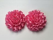 1 Pair Satin Ribbon Flowers/Carnations for Browband Centre Pieces - Pink