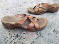 Women MERRELL Sundial Leather Cross Wedge Sandals Shoes Tan Size 9 😎