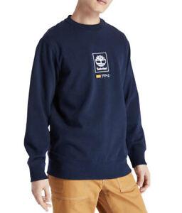 Timberland Mens Elong Crew Neck Jumper Pullover Navy Winter Tree Logo Sweatshirt