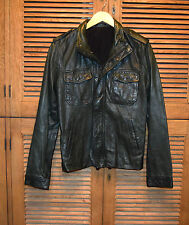 Men's VINCE Washed Leather Moto Motorcycle Jacket Dark Forest Green Sm $1095 EUC