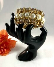 Bracelet Wide for Women White Pearls Gold Metal and Amber Stones Elasticized