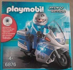 Playmobil 6876 Motorradstreife mit LED-Blinklicht Polizei-Motorrad mit Polizist
