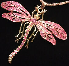 Betsey Johnson Pink Rhinestone Enamel Dragonfly Pendant Chain Necklace 935544