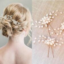 Wedding Bride Hair Pin Faux Pearl Headdress Plait Vine Hair Clip Hair Stick