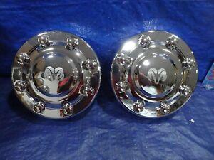 "2000-2002 DODGE 3500 1-Ton Dually 16"" Dual Wheels NEW FRONT Center Hub Caps pair"