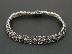 Marcasites Diamond Shape Lace Look Sterling 925 Silver Bracelet