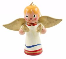 White Gold Wood Angel Christmas Ornament Holiday Decoration