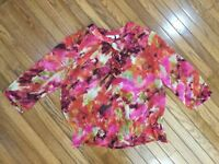 Chicos Woman's Sheer 3/4 Sleeves Top Blouse Size 3