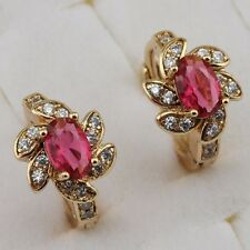 Fancy Nice Ruby Red Gems Jewelry Yellow Gold Filled Huggie Lady Earrings h2658