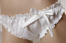 Pearl White Satin Ruffled Panties Frilly Bikini Knickers   MEDIUM