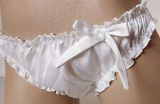 Pearl White Satin Ruffled Panties Frilly Bikini Knickers   MEDIUM
