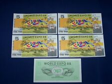 Lot of 5 Notes from Australia World Expo 88 $5 Uncirculated