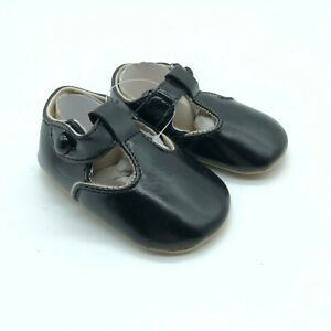 Baby Girls Mary Jane Flat Shoes Soft Sole Faux Leather Hook & Loop Black Size 2