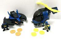 Imaginext DC Super Friends Batwing Plane and Batcopter Figures 6 Discs COMPLETE