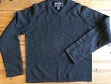 Abercrombie Fitch Lambs Wool Sweater vneck elbow patch Pullover Navy Gray Sz M