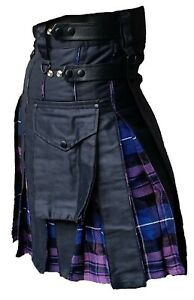 Men's Hybrid Leather Straps, Cotton & Tartan (Pride Of Scotland) Utility Kilt