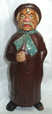 Antique Homeless Old Man Carved Wood Mayr Fessler Wien Music Bottle Box Folk Art
