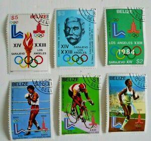 BELIZE OLYMPICS LOS ANGELES 1980 SCOTT 555-60 COMPLETE SET  USED CAT $ 37.50