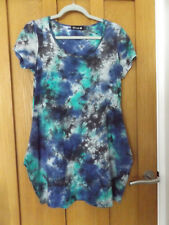 Danity quirky lagenlook blue green tunic T-shirt cocoon stretchy dress medium
