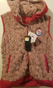 Antigua Texas Rangers Full Zip pullover Womans SZ Med Fuzzy Sweater Vest Hood