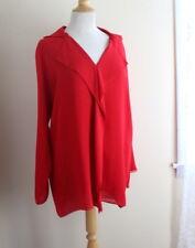 Shamask -Sz 1 S/M/L LIPSTICK RED Double Layer Silk Chiffon Blouse Shirt Top