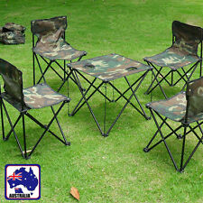 Foldable Table Chair Set Seats Camouflage Beach Camping Desk Folding HQTCS3658