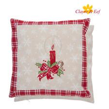 Clayre & Eef Kissenbezug Kissenhülle Kissen 40 x 40 cm Weihnachten Kerzenstick