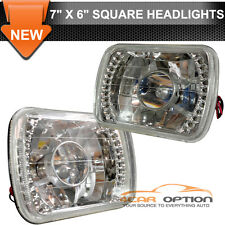 7X6 Inch H4 Bulbs Crystal Clear LED Projector Headlights Headlamps Pair